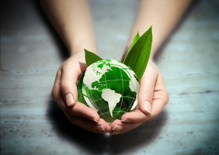 equitable: care green world blue Stock Photo