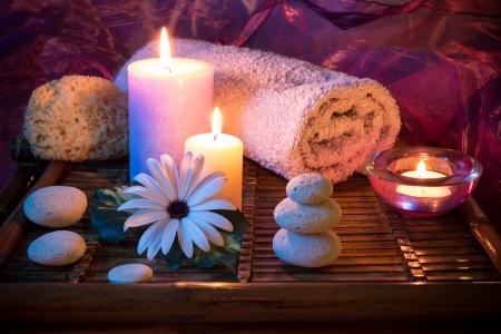 oriental massage: Spa candle stone sponge