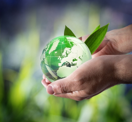 save the environment: care green world - europe Stock Photo