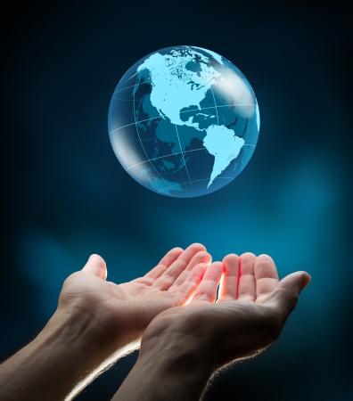 terrestrial: blue world in two hands