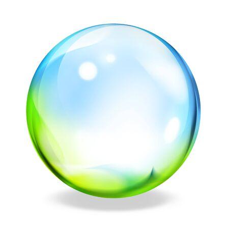 liquid crystal: round button - green cyan