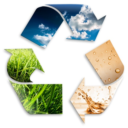 recycling plant: recycling symbol  cloudy sky, water, grass