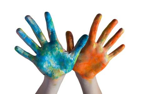 body paint: las manos cruzadas de color Foto de archivo