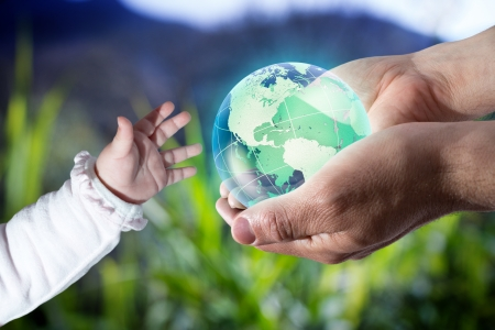 save the planet: give the world the new generation - Usa - sea background