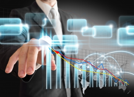 businessman hand touch virtual stock graph, chart photo