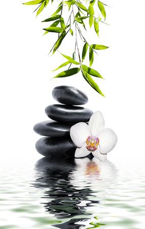 steine im wasser: wei�e Orchidee Ende Bambus Lizenzfreie Bilder