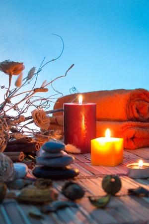 flores secas: flores secas, velas - Cromoterapia - cian