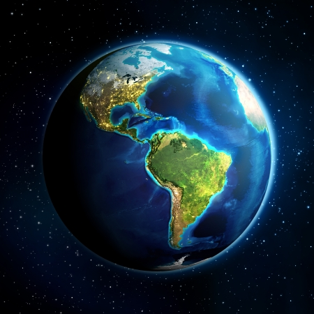 world energy: earth in the space - Universe background - USA  Stock Photo