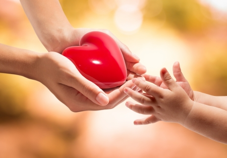humanity: life in your hands - heart whit orange background  Stock Photo