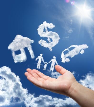 home loans: sogni nel cielo, auto, casa, soldi e famiglia