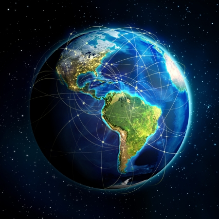 international internet: earth and flight routes - Universe background - USA