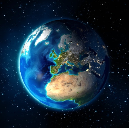 earth in the space - Universe background - Europe  photo