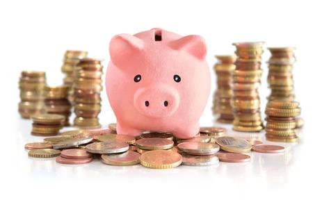 Oszczędność pieniędzy na euro i pieniądze wieży Zdjęcie Seryjne