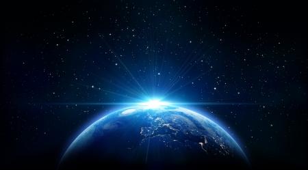 青い日の出、宇宙から地球のビュー