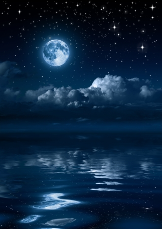 silent night: moon and clouds in the night on sea