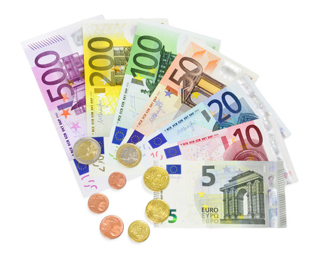 20 euro: banknotes and coins euro - isolated  Stock Photo