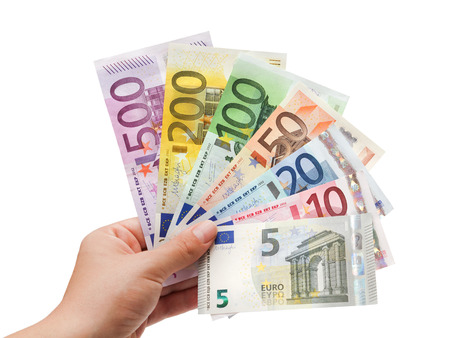 fifty euro banknote:  euro banknotes in hand on white  65532;  Stock Photo