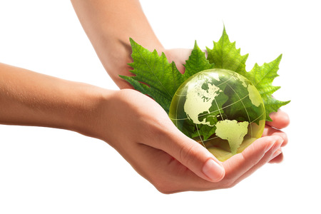 environment protection: environment conservation in your hands - usa  Stock Photo