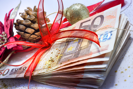 payday: euro package for gift christmas - closeup