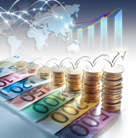 economical: chart of euro currency - concept of increase