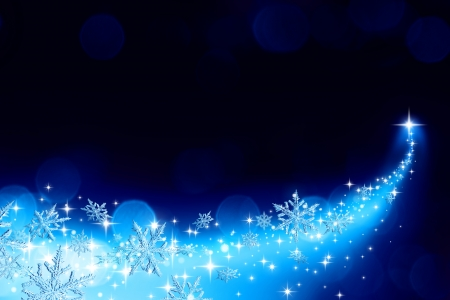ramble: Christmas background with a trail of stardust and snowflakes