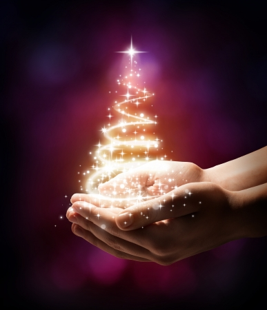 golden  gleam: Christmas tree in your hand - red