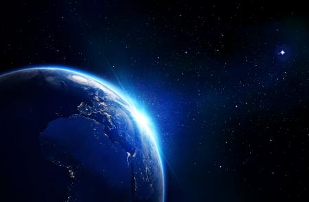 지구 파란색 빛나는 - 수평선과 별