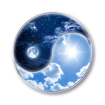 yin y yang: icono tao - luna y el sol Foto de archivo