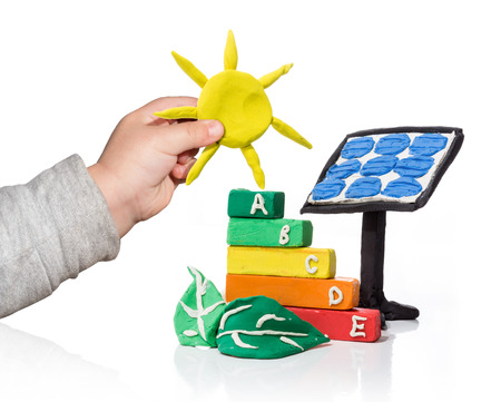 new generation that thinks of the photovoltaic - isolated Stock Photo - 24149078