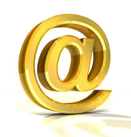 electronic mail: 3d golden e-mail symbol  Stock Photo