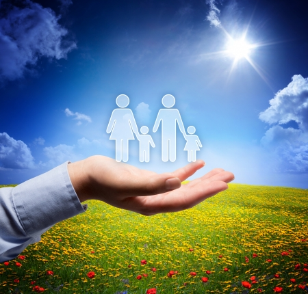 family concept in your hand - serene scene  photo
