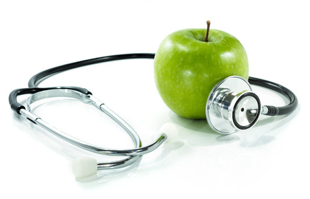 protect your health with healthy nutrition Stethoscope, apple  photo