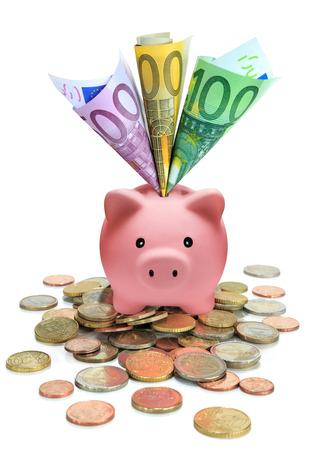 spaarvarken vol euro Stockfoto