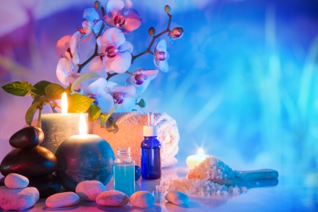 cyan: preparation for bath massage in garden - cyan red
