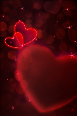 red hearts and white frame for Valentine day background  photo