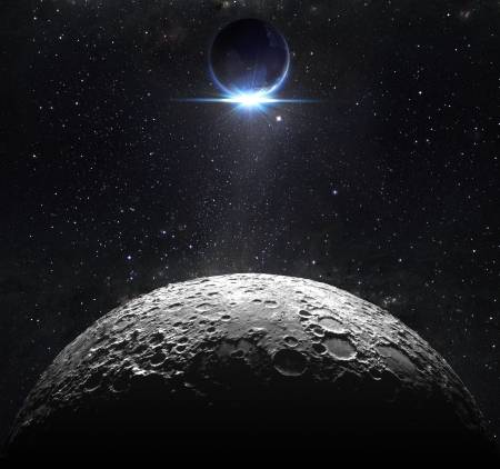 Mondoberfläche mit Blick Sonnenaufgang der Erde