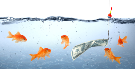 goldfishes: goldfish in danger - dollar as bait - concept deception
