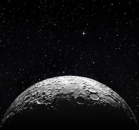 반 달 표면과 별이 빛나는 공간