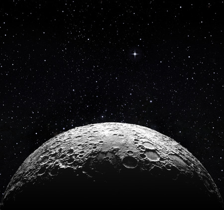 moitié de la surface de la lune et de l'espace étoilé