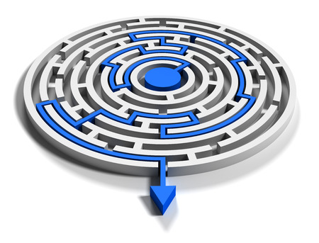 way out: Round labyrinth with blue arrow output down
