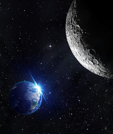astrologie: Blick vom Mond - Sonnenaufgang der Erde