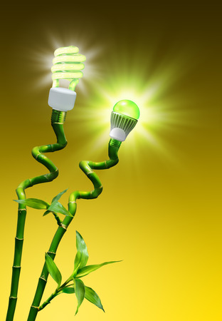 led lighting: concept of efficiency on lighting - flash vs LED lamp  Stock Photo