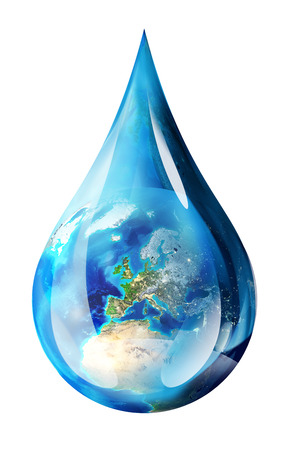 water ecosystem: europe in water drop - isolated