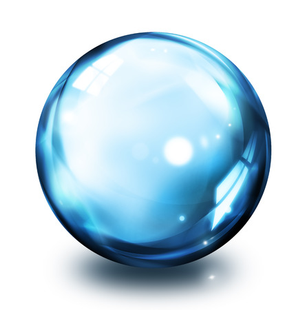 crystal ball: bubble icon - blue  Stock Photo