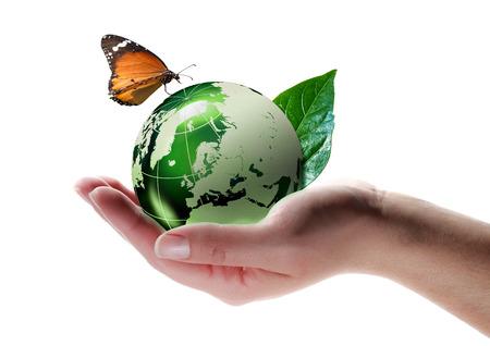 eco-vriendelijk concept - vlinder op de planeet in de hand