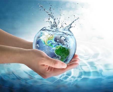 우리의 행성에서 물 절약 - 미국 스톡 콘텐츠