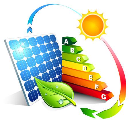 太陽光発電のエネルギー効率  イラスト・ベクター素材