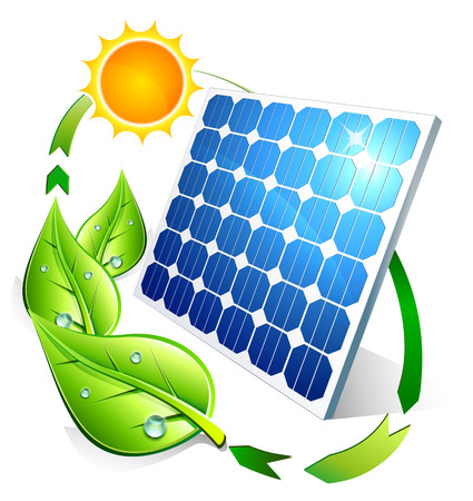 photovoltaic cell: Photovoltaic concept - panel leaves and sun