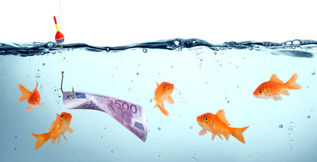 goldfish in danger - euro as bait - concept deception  photo