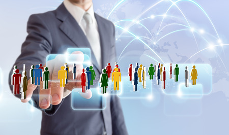 businessman connect to social network  photo